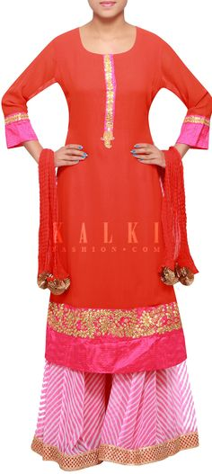 Buy Online from the link below. We ship worldwide (Free Shipping over US$100) http://www.kalkifashion.com/orange-straight-fit-suit-enhanced-in-gotta-patti-cut-work-only-on-kalki.html