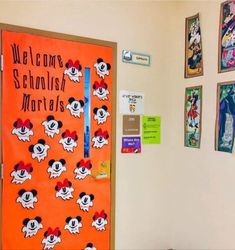 fall door decorations classroom Lynne DiPrato brings bright happy inspiration into her disney inspired classroom. From Tsum Tsum treasures to travel trinkets, Disney dcor delivers delight to her students. Thanksgiving Classroom Door, Classroom Wreath, Halloween Classroom Decorations, Halloween Bulletin Boards, Christmas Classroom Door, School Door Decorations, Disney Classroom, Classroom Themes, Future Classroom