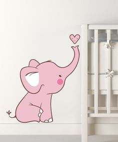 Take a look at this Pink Baby Elephant Wall Decal on zulily today!