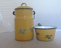Vintage Enamel Milk Can & Milk Pan Set French Enamelware LAY BY AVAILABLE ( Ref no. A 170 )