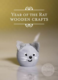 Lunar New Year Craft: Year of the Rat Little Wooden Mice by Brenda Ponnay for @Alphamom