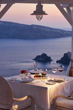 Romantic Dinner for 2 on Santorini Island, Greece Small Luxury Hotels, Luxury Travel, Romantic Places, Beautiful Places, Romantic Beach, Romantic Dinners, You're Beautiful, Beautiful Scenery, Beautiful Pictures