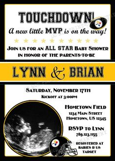 Personalized NFL Steelers Football Party Shower Photo Invitations *Need Party Invitations Fast? With our DIY Printing Option, you'll have your files today!*