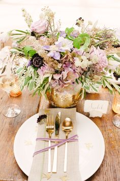 Wedding Inspiration | Organic Elegance | See more on StyleMePretty - http://www.StyleMePretty.com/2014/01/03/organic-glamour-inspiration-shoot-wiup/ Brklyn View Photography #Centerpiece #PlaceSetting