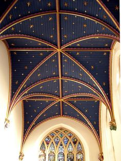 Starry Chapel Ceiling in St. Mary's Parish Church in Old Amersham, Bucks by Cathy