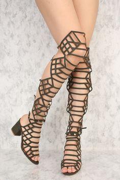 dde2715d6d374d Olive Caged Versatile Peep Toe Knee High Chunky Heels Gladiator Sandals  Faux Suede