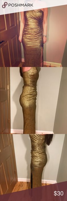 Gold one shoulder dress Beautiful shimmery gold one shoulder dress. Worn twice. ** two dark discoloration spots on the back of the dress, they are not stains.** Xscape Dresses One Shoulder