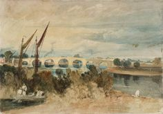 The Turner Collection at Tate Britain. Here 'Kew Bridge, with Brentford Eyot in the Foreground and Strand-on-Green Seen through the Arches: Low Tide'