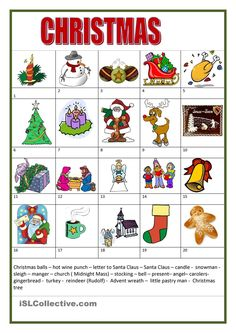 Vocabulary about Christmas - ESL worksheets Christmas Worksheets, Christmas Activities, Christmas Games, German Language Learning, Teaching English, German Christmas, A Christmas Story, Christmas Cards Drawing, Kindergarten Portfolio