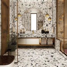 Easy Steps That Will Help You On Your Home Improvement Path for Bathroom Lighting Many people try to tackle home improvement jobs every day. Home Bathroom Lighting Design, Bathroom Light Fixtures, Terrazo Flooring, Monochrome Interior, Terrazzo Tile, Small Bathroom, Bathrooms, Apartment Design, Tile Design