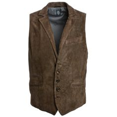 Eleventy Men's Brown Suede Vest (37.625 RUB) ❤ liked on Polyvore featuring men's fashion, men's clothing, men's outerwear, men's vests, brown, mens brown suede vest, mens brown vest, mens vest and mens suede vest