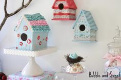 bird house cake and bird houses for top of cake stands.. such a great blog!
