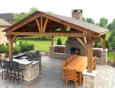 Backyard Pavilion, Outdoor Pavilion, Backyard Gazebo, Outdoor Pergola, Outdoor Covered Patios, Covered Outdoor Kitchens, Outdoor Fireplace Designs, Outdoor Patio Designs, Backyard Fireplace