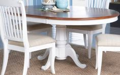 Cindy Crawford Home   Seaside White-Cherry Pedestal Dining Table
