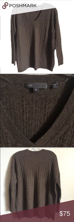 Vince brown v-neck sweater - size small Vince sweater - size small. 50% yak/ 50% wool. Surprisingly lightweight. Features a v-neck and small side skits at the bottom. Loose/relaxed fit. I only wore this once, so it's in excellent condition! Vince Sweaters