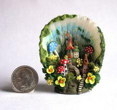 Handmade Miniature  WOODLAND FAIRY  HOUSE VILLAGE DIORAMA - OOAK by C. Rohal #CRohal