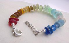 Rainbow Sea Glass Sterling Silver Bracelet by SeahamWaves on Etsy, £40.00