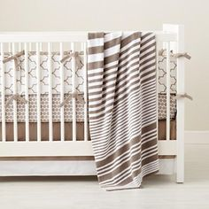 """""""Khaki in the Mix"""" crib bedding from Land of Nod....simple. elegance. beautiful!"""