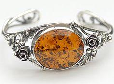 Bracelet rigide roses - bijou ambre et argent
