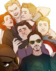 All the Avengers (and Fury). Also, I think Tony must have his hand on COULSON'S shoulder. That's my theory and I'm stickin to it. <- THIS! Long live the Son of Coul!
