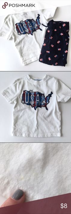 LAST DAY 🚀Jumping Bean USA outfit 🚀Jumping Bean USA Outfit includes an white tee with a map of the US and navy blue shorts with American Flag pattern. PLAY CONDITION Shirt has faint stains, see pictures and shorts are slightly faded. Priced according. 🚀From my nephews closet, smoke and pet free home🚀 ❗️Must be bundled❗️ Jumping Bean Matching Sets