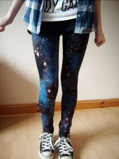 DIY galaxy leggings.  could use a black tank and make a galaxy tank instead.