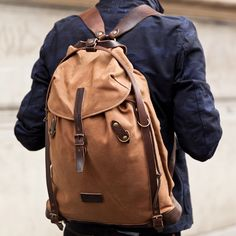 Bleu de Chauffe   Men   Rucksack in Waxed canvas & leather I Scout Backpack I Made in France
