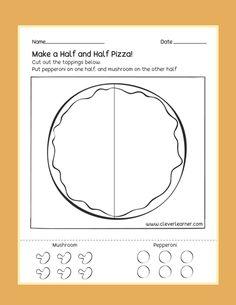 Free printable fun worksheets on Half Fractions. Pizza Fractions, Learning Fractions, Fractions Worksheets, Fun Worksheets, Dividing Fractions, Multiplying Fractions, Equivalent Fractions, Kindergarten Fun, Kindergarten Worksheets
