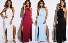Women's Maxi Dress Long Length Halter Double Slit White Black Red Blue S M L