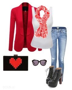 Stylish red jacket and Lovely scarf. This style looks lovely too. TIP ) Point to a large heart pattern bag.