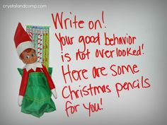 Elf on the Shelf: Write On- Today is day fifteen of Elf on the Shelf.    He delivered Christmas pencils and a sweet note on our homeschool dry erase board.#elfontheshelf