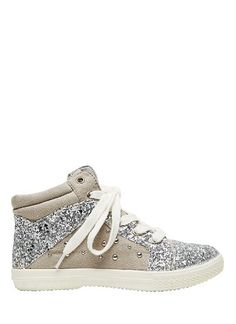 Girls glitter hightop. Featuring size zip and tie up laces. Synthetic upper/ cotton lining / rubber sole. Sizes 24-29 will have elastic laces while size 30-35 will have cotton tie up laces.