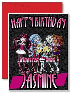 Personalized Greeting/Birthday Card Free personal message inside or you can chose to have it blank and write something yourself. Please write any information that is needed for the card like: Name (if Monster High Birthday, Monster High Party, Birthday Greeting Cards, Birthday Greetings, 5th Birthday, Birthday Parties, Birthday Ideas, Family Vacation Shirts, Personalized Greeting Cards
