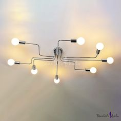 Industrial Chrome Large Semi Flush Ceiling Light Metal 8 Light Ceiling Lamp for Living Room Clothes Stores, Fashion Style Industrial Lighting Semi Flush Ceiling Lights, Flush Lighting, Flush Mount Ceiling, Ceiling Lamp, Incandescent Bulbs, Light Shades, Lighting Design, Light Fixtures, Chrome