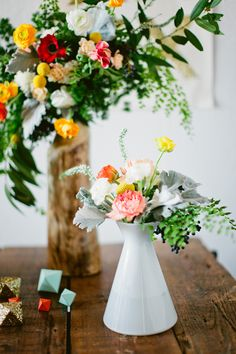 geometric centerpieces + table decor // photo by Scott Michael Photography // flowers by Primary Petal