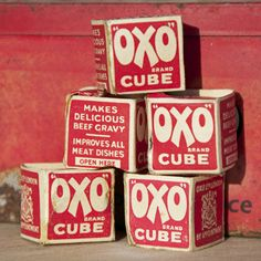 Vintage Oxo Cube Tin with Original Cardboard Cube Packaging. For REAL gravy - mum always used these + the meat juices. 1960s Food, My Childhood Memories, All Brands, Good Old, Things To Come, Nice Things, Packaging Design, Thrifting, Cube