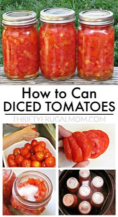 The absolute easiest way to can tomatoes- no peeling, no coring! This easy step by step tutorial will show you how to can diced tomatoes in no time! Veggie Recipes, Beef Recipes, Healthy Recipes, Healthy Foods, Healthy Eating, Canning Diced Tomatoes, Stewed Tomatoes, Canning Vegetables, Homemade Sauce
