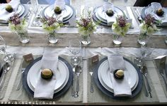 Stenciled placemats, Mini vases set on top of Wide ribbon or burlap. Lovely table setting, pinned with permission from aka design