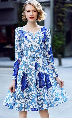 Retro V-Neck Long Sleeve Celadon Porcelain Print A-Line Dress