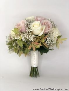 Bride Bouquet of pink roses, white roses, gypsophila and pieris collar for Spring Wedding Gypsophila Bouquet, Bride Bouquets, Spring Wedding Flowers, Rose Wedding, White Roses, Pink Roses, Seasonal Flowers, Flower Delivery, Centre Pieces