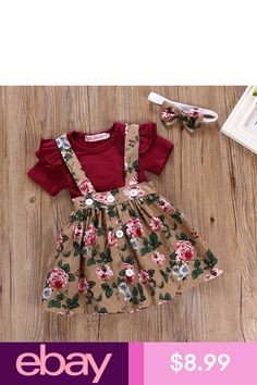 5e320281fc4c 3PCS Newborn Infant Baby Girl Outfits Clothes Set Romper Tops +Strap Skirt  Dress
