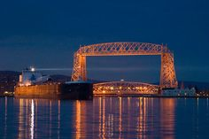 South Pier Inn, Duluth, MN.  Hotel rooms with great views of the Aerial Lift Bridge and Duluth Harbor.  You get up close and personal with the large ships as they enter and leave the harbor.