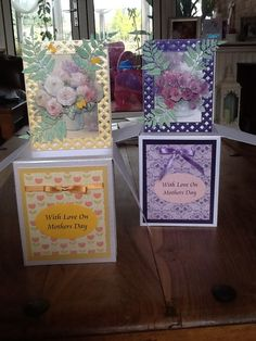 Card in a box for mum and mum inlaw using spellbinders and hunkydory
