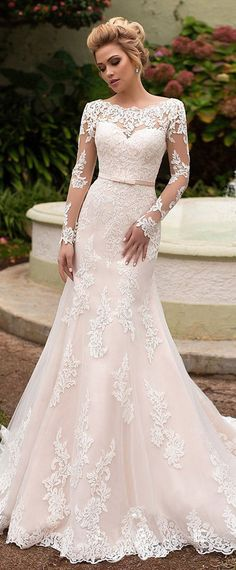 NEW! Amazing Tulle & Organza Bateau Neckline Mermaid Wedding Dress With Lace Appliques & Belt #LaceWeddingDresses #weddingdresses