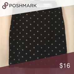 LOFT Polka Dot Pencil Skirt Black with grey dots. Zip closure. Back vented. Lined. Can make it work for cooler weather with tights. You'll love it! LOFT Skirts Pencil