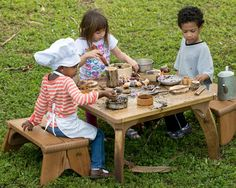 Introducing a table, such as Community Playthings Outlast Play Table, into your sand or dirt digging area can create completely new forms of creative play.