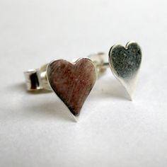 Heart earrings silver studs by SuKeatesJewellery on Etsy