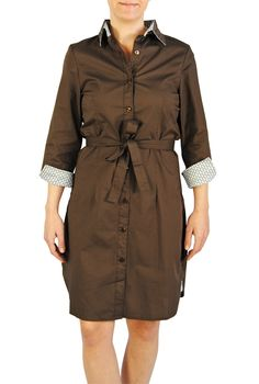 Madeline Dress in Brown with Green Bits