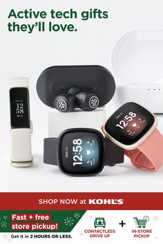 With a busy shipping season ahead, get your gifts now. Give them something they can use all year long, like these top tech picks that are both fun and functional. They'll love a Fitbit smartwatch that can track sleep, steps and even more. Or, give them a pair of wireless earbuds so they can jam out on the go. Get gifting now with fast and free store pickup or drive up! Shop speakers, cameras, active watches and more Christmas gifts at Kohl's and Kohls.com. #tech #giftideas Active Watch, Can Jam, Holiday Gifts, Christmas Gifts, Tech Gifts, Wireless Earbuds, Smartwatch, Kohls, Speakers