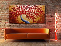 Abstract painting Contemporary oil painting Red by viorelscoropan